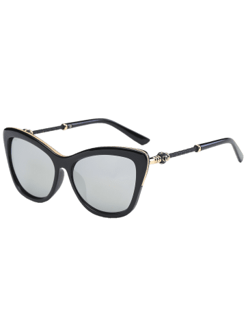 Online Reflective Butterfly Design Metal Inlay Frame Sunglasses - BLACK+MERCURY  Mobile