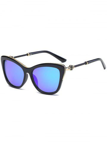 Unique Reflective Butterfly Design Metal Inlay Frame Sunglasses - BLUE  Mobile