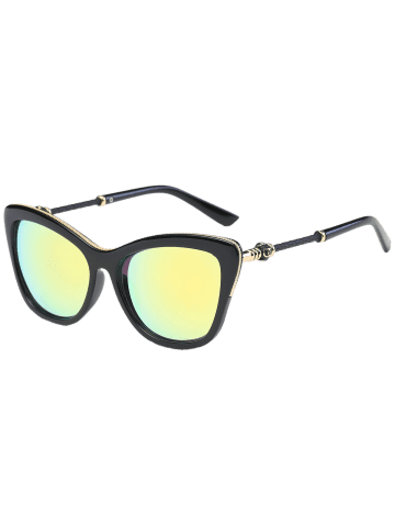 Shop Reflective Butterfly Design Metal Inlay Frame Sunglasses - GOLDEN  Mobile