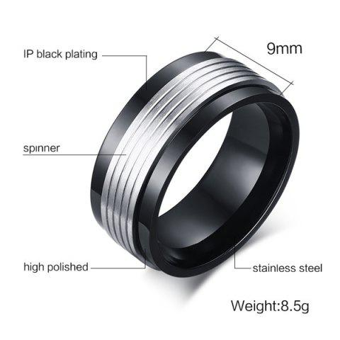 Trendy Finger Fidget Spinner Stainless Steel Ring - 11 BLACK Mobile