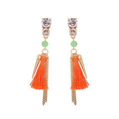 Rhinestone Tassel Resin Bead Fringed Earrings - Orange - One Size