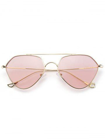 Outfit Asymmetric Metallic Hollow Out Leg Geometric Sunglasses - PINK  Mobile