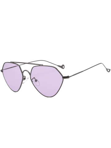 Hot Asymmetric Metallic Hollow Out Leg Geometric Sunglasses - LIGHT PURPLE  Mobile