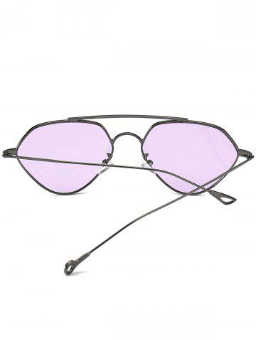 Store Asymmetric Metallic Hollow Out Leg Geometric Sunglasses - LIGHT PURPLE  Mobile
