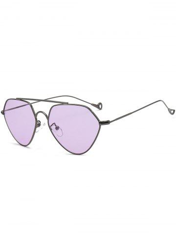 Outfit Asymmetric Metallic Hollow Out Leg Geometric Sunglasses - LIGHT PURPLE  Mobile