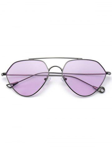 New Asymmetric Metallic Hollow Out Leg Geometric Sunglasses - LIGHT PURPLE  Mobile