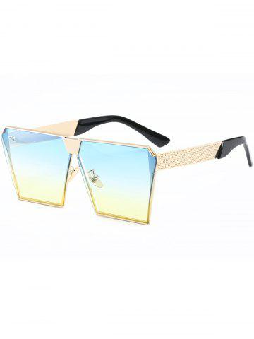 Shop Street Snap Retro Square Frame Sunglasses - GOLD FRAME + YELLOW-BLUE LENS  Mobile