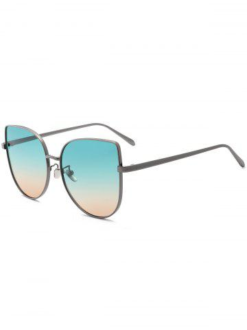 Outfit Wide Cat Eye Design Gradient Color Sunglasses - GREEN  Mobile