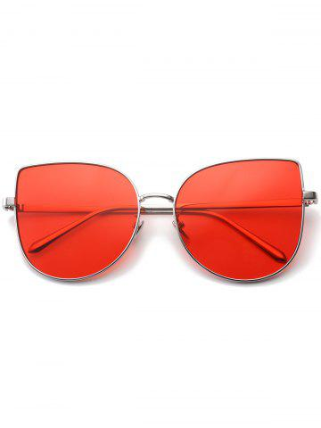 Outfit Wide Cat Eye Design Gradient Color Sunglasses - RED  Mobile