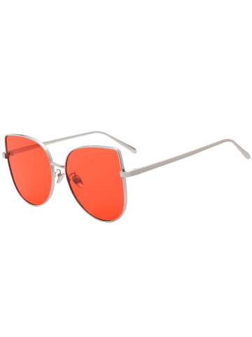 Shop Wide Cat Eye Design Gradient Color Sunglasses - RED  Mobile