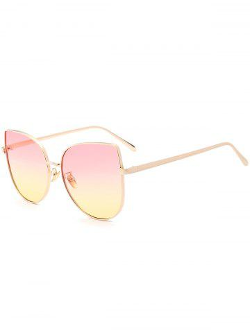 Hot Wide Cat Eye Design Gradient Color Sunglasses - PINK  Mobile