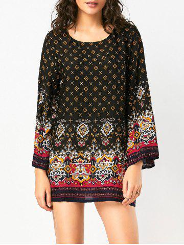 Hot Bohemian Print Long Sleeve Tunic Shift Dress - M BLACK Mobile