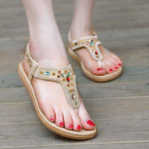 Outfit Rhinestone Flat T-Strap Sandals