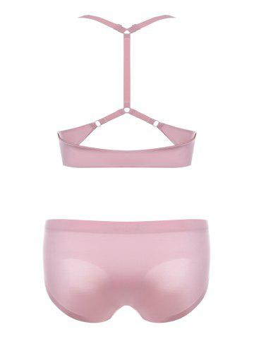 Outfits Padded Seamless Y Back Bra Set - 75A PINK Mobile