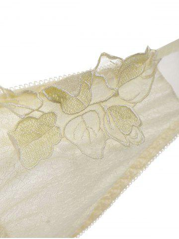 Fancy Push Up Embroidered Mesh Bra Set - 70A LIGHT YELLOW Mobile
