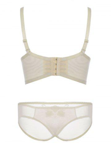 Fancy Push Up Embroidered Mesh Bra Set - 85A LIGHT YELLOW Mobile