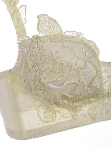 Outfit Push Up Embroidered Mesh Bra Set - 70B LIGHT YELLOW Mobile