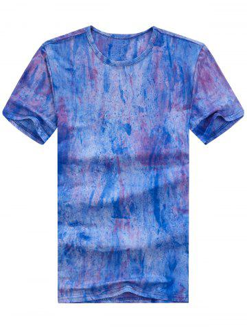 Best Short Sleeve Tie Dye Tee BLUE XL