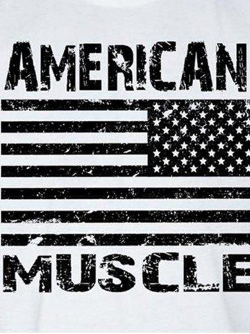 Chic Bodybuilding Muscle American Flag Tank Top - L WHITE Mobile