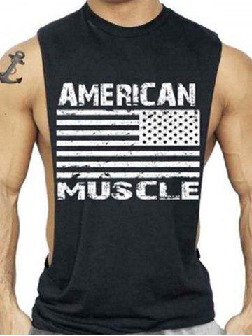 Trendy Bodybuilding Muscle American Flag Tank Top DEEP GRAY L