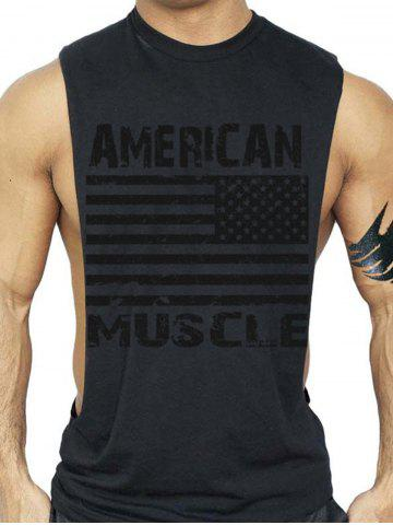 Chic Bodybuilding Muscle American Flag Tank Top - XL BLACK Mobile