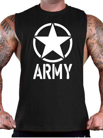 New Graphic and Star Print Sports Tank Top BLACK M