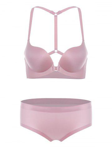 Discount Padded Seamless Y Back Bra Set - 70A PINK Mobile