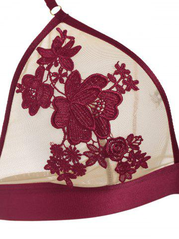 Fashion Mesh Flower Embroidered Lingerie Bra Set - 70A RED Mobile