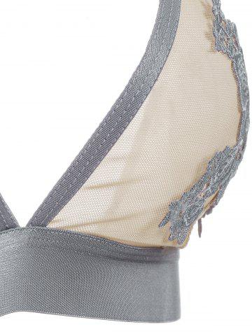 Sale Mesh Flower Embroidered Lingerie Bra Set - 75C GRAY Mobile