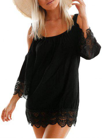 Cheap Lace Trim Cold Shoulder Dress BLACK L