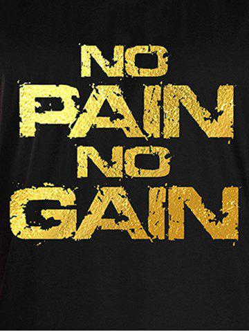 Store No Pain No Gain Workout Tank Top - XL BLACK AND GOLDEN Mobile