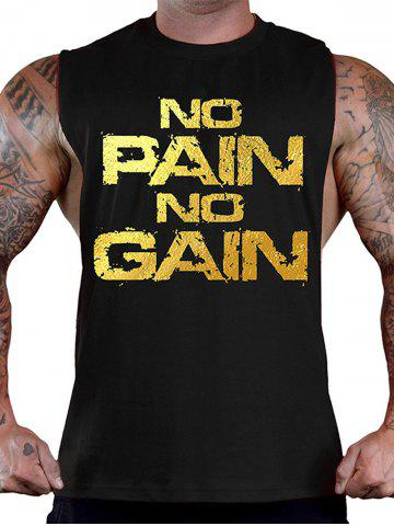 New No Pain No Gain Workout Tank Top - XL BLACK AND GOLDEN Mobile