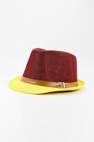 Outfit Chic Belt Decorated Linen Hat For Men - COLOR ASSORTED  Mobile