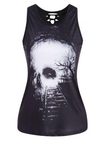 Cut Out  3D Skull Print Tank Top - White - S