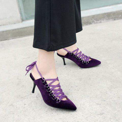 Online Pointed Toe Lace Up Velvet Pumps