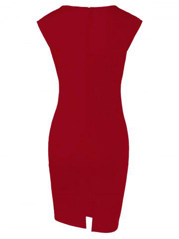 Outfits Cap Sleeve Floral Sheath Dress - RED M Mobile