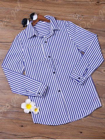 Shop Stripes Long Sleeve Formal Shirt - XL BLUE AND WHITE Mobile