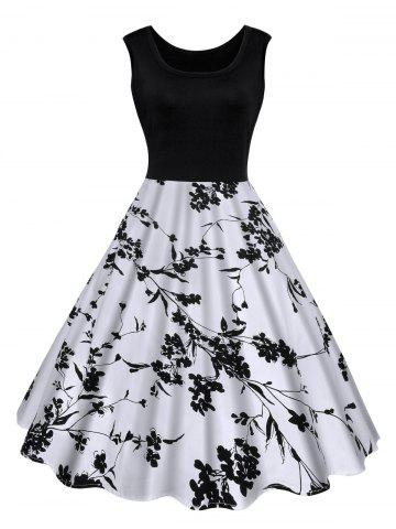 Latest Floral Print Midi Vintage Summer Dress BLACK XL