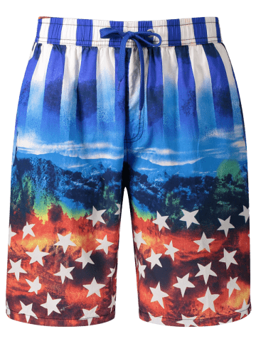 Best Star and Stripe Print Board Shorts BLUE XL