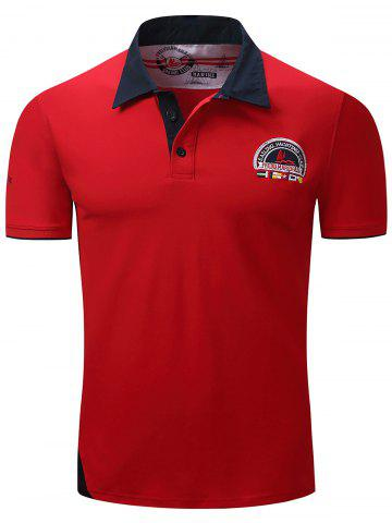 Fashion Graphic Embroidered Color Block Panel Polo T-shirt RED 3XL