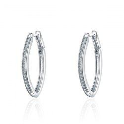 Alloy Rhinestone Oval Statement Hoop Earrings - SILVER