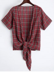 Asymmetrical Knot Plaid Top