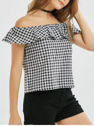 Ruffle Off The Shoulder Plaid Top
