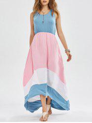 Color Block Sleeveless High Low Dress
