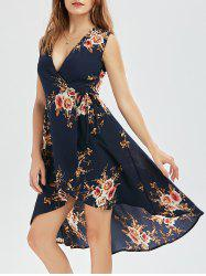 Asymmetric Floral Wrap Dress - PURPLISH BLUE
