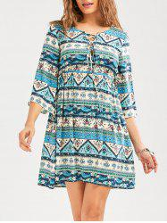 Geometric Floral Print Empire Waist Casual Dress - COLORMIX