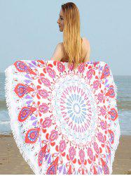 Round Printed Fringe Beach Towel