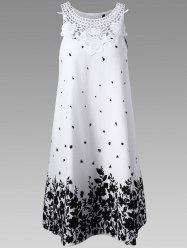 Casual Lace Panel Racerback Floral Tent Dress - WHITE AND BLACK