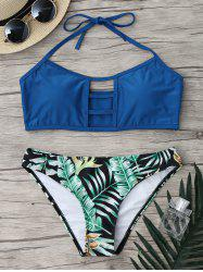 Ladder Strap Halter Jungle Bikini Set