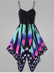 Plus Size Butterfly Lace Up Slip Dress